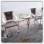A09A060:ชุดโต๊ะรับแขกกระจกใสกลม รุ่น FTC-001  พร้อมเก้าอี้หวาย (โต๊ะ1 ตัว, เก้าอี้ 2 ตัว)