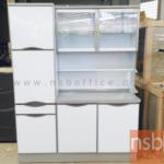 G07A108:ตู้ครัวสูงอลูมิเนียม มีตู้เก็บของด้านข้าง 150W cm ลิ้นชักมีถาดใส่ช้อน