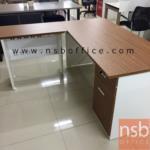 โต๊ะทำงานตัวแอล  รุ่น SR-BN-RSA-1  ขนาด 155W1*150W2 cm.  พร้อมบังโป๊เหล็ก สีซีบราโน่-ขาว