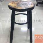 L02A313:เก้าอี้สตูลกลมที่นั่งไม้ลายดอกไม้ รุ่น NSB-CHAIR27 ขนาด 30Di*49H cm. ขาไม้พ่นสี (STOCK-2 ตัว)