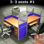 A04A082:ชุดโต๊ะทำงานกลุ่ม 3 ที่นั่ง 184W*126D*120H cm. พร้อมพาร์ทิชั่นครึ่งกระจกขัดลาย