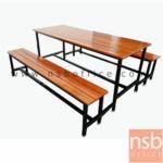 G14A115:ชุดโต๊ะและเก้าอี้โรงอาหารไม้ระแนง  ขนาด 150W,180W cm.