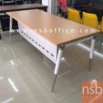 A18A056:โต๊ะผู้บริหารขาเหล็กปลายเรียว ขนาด 180W* 80D* 75H cm. พร้อมบังตาเหล็ก