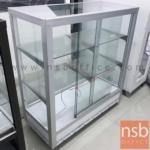 L04A036:ตู้กระจกโชว์สินค้าล้อเลื่อน รุ่น NSB-KITCHEN2  อลูมิเนียมล้วน (STOCK 1 ตู้)