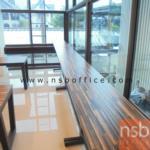 A05A121:โต๊ะยาวบาร์สูง  ขนาด 200W*40D*110H cm. โครงขาเหล็ก มีที่พักเท้า
