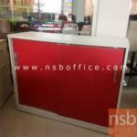 L03A109:ตู้เอกสารไม้บานเลื่อน สีแดง มี1ใบ ขนาด110*40*87