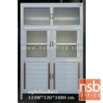 G07A047:ตู้ครัวทรงสูง  6 ประตู อลูมิเนียมสีขาว  TOP โฟเมก้า (ขนาด 87 , 106 และ 122 ซม.)