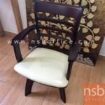 G14A050:เก้าอี้ไม้ยางพาราที่นั่งหุ้มหนังเทียม รุ่น FW-CNP2401 ขาไม้ (เบาะหมุน)