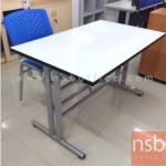 A07A032:โต๊ะเอนกประสงค์หน้าโฟเมก้าขาว รุ่น PL-DM02157 ขนาด 120W* 75D* 72H cm. มีที่แขวนจัดเก็บเก้าอี้