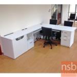 A21A022:โต๊ะเคาน์เตอร์ตัวแอลแบบนั่ง 210W1*275W2*75D1*60D2*75H cm. หน้าท็อปโต๊ะเมลามีน (ไม่รวมเก้าอี้)