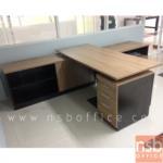 A13A051:โต๊ะทำงานตัวแอลพร้อมตู้ข้าง ขนาด 180W1*175W2*75D1*50D2*75H cm