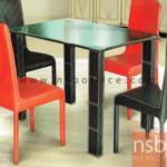 G14A090:โต๊ะกลางรับแขกหน้ากระจก  กว้าง 120,150 cm. โครงขาเหล็กหุ้มหนัง