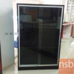 L03A044:ตู้เอกสารโล่งบานเลื่อนกระจก สีโอ๊คล้วน 80W 40D 121H cm.มีสต๊อก 2ใบ
