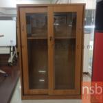 L03A046:ตู้เก็บเอกสารบานเลื่อนกระจก (มีเฟรม) 80W 40D 120H cm.มีสต๊อก2ใบ