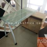 L01A082:โต๊ะทำงานหน้ากระจกขาเหล็กพร้อมตู้เอกสารด้านข้าง