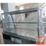 G06A015:ตู้กระจกข้าวแกงหน้าเฉียง บานเลื่อน มีแผ่นชั้น โครงอลูมิเนียม (3,4,5,6 ฟุต *55D*60H cm.)