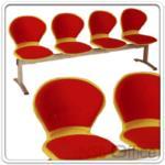 B06A057:เก้าอี้นั่งคอย ที่นั่งและพนักพิงเปลือกโพลี่ รูปตัวโบว์ หุ้มเบาะ B376