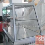 ตู้กระจกข้าวแกงหน้าเฉียงมุมเหลี่ยม บานเลื่อน มีแผ่นชั้น โครงอลูมิเนียม  (3,4,5,6 ฟุต *55D*60H cm.)