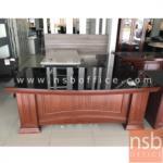 A06A046:โต๊ะผู้บริหารตัวแอลทับกระจก  รุ่น Amour  ขนาด 200W cm. พร้อมตู้ลิ้นชักและตู้ข้าง