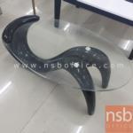 L01A063:โต๊ะกลางกระจกวงรี 94W cm. รุ่น SARA-01 ขาพลาสติกไฟเบอร์