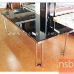 โต๊ะรับประทานอาหารหน้ากระจกใหญ่พิเศษ  รุ่น LATTE ขนาด 240W cm. โครงขาสเตนเลส
