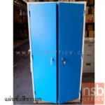 E08A038:ตู้เสื้อผ้า 2 บานเปิดทึบ มือจับปิด รุ่น WC-CHI-001 หน้าบานสีสัน (มือจับเขาควาย)