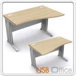 A18A016:โต๊ะทำงานโล่งหน้าโค้ง ขาเหล็ก 120-180W*80D1 *60D2 cm. ผิวเมลามีน