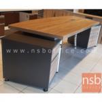 โต๊ะทำงานผู้บริหาร 4 ลิ้นชัก  รุ่น DKK-2822  ขนาด 283W cm. เมลามีน สีแกรนโอ๊คตัดกราไฟท์