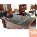 A06A041:โต๊ะผู้บริหารตัวแอล Reach 180W*93D cm (2 ชิ้น พร้อมโต๊ะต่อข้าง) Top กระจก