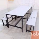 G14A116:ชุดโต๊ะและเก้าอี้โรงอาหาร  หน้าโฟเมก้าขาว 120W , 150W , 180W cm. โครงขาเหล็กดำ
