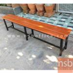 B22A130:เก้าอี้โรงอาหาร ที่นั่งไม้สัก (ลึก 30D cm)  180W cm. ขาเหล็กสีดำ