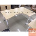 โต๊ะทำงานตัวแอลหน้าโค้งเว้า  รุ่น AS-RL1618 ขนาด 160W1 ,180W1*120W2 cm.  ขาเหล็ก