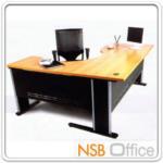 A06A002:โต๊ะทำงานตัวแอล ขาเหล็ก 160W, 180W ผิวเมลามีน ขาเหล็ก