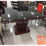 G14A185:โต๊ะรับประทานอาหารหน้ากระจก รุ่น PIPO  โครงขาไม้