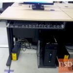 A10A091:โต๊ะคอมพิวเตอร์ รุ่น Amber (เอมเบอร์) ขาเหล็ก  มีคีย์บอร์ดและที่วางซีพียู