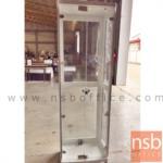 ตู้โชว์กระจกดาวน์ไลท์ ขนาด 60W*40D*190H cm. รุ่น DW-766-N มีไฟในตัว (หลังกระจกใส)