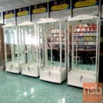 ตู้โชว์กระจกดาวน์ไลท์ ขนาด 80W*40D*190H cm.  รุ่น DW-67111  มีไฟในตัว (หลังกระจกใส)