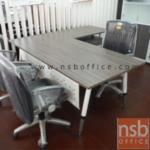 A29A002:โต๊ะผู้บริหารตัวแอล ขาเหล็กสีขาวโครเมี่ยม 200W1*190W2 cm HB-EX4DL2019