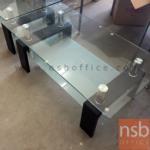 B13A193:โต๊ะกลางกระจกหน้าเหลี่ยม 110W cm. รุ่น GHO-SEOUL BLACK ขาไม้ปาร์ติเกิลบอร์ด สีดำ
