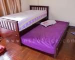G11A099:เตียงเดี่ยว 3.5 ฟุต แบบมีเตียงเสริมด้านใต้ ไม้ยางพาราสีโอ๊ค