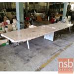 A05A118:โต๊ะประชุมยาว ขาเหล็กวีคว่ำ เสริมขากลางร้อยสายไฟได้ 300W-480W*120D cm NSB-MATE 01