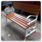 G08A023:เก้าอี้สนามไม้เต็ง โครงเหล็กแบน ทันสมัย CD2 (100, 120, 150 cm)
