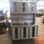 K07A001:ตู้ครัวอ่างซิงค์สเตนเลส 2 หลุม อลูมิเนียมมุมมน 120W cm. (สีเงินและสีชา)
