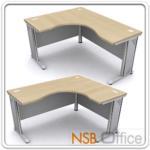 A18A017:โต๊ะทำงานโล่งตัวแอล 150-180W*120W2*60D1 *60D2 cm ขาเหล็ก ผิวเมลามีน
