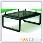 B13A089:โต๊ะกลางขอบพียูฉีดขึ้นรูป กระจกสีชา EU-SS501 โครงเหล็กพ่นดำ
