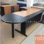A30A009:ชุดโต๊ะผู้บริหารตัวแอล รุ่น PT-S01 ขนาดความกว้าง 220 ซม. ขาเหล็กดำ