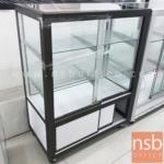 L04A035:ตู้กระจกโชว์สินค้าล้อเลื่อน รุ่น NSB-KITCHEN1  อลูมิเนียมล้วน (STOCK 1 ตู้)