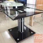 B13A257:โต๊ะกลางกระจกสีดำสลับใส รุ่น GS-S2 ขนาด 50Di cm.  ฐานกระจกสีดำ