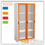 E04A040:ตู้เหล็ก 2 บานเลื่อนกระจกสูง 182.9H cm. รุ่น SURE-CLK-4 หน้าบานสีสัน