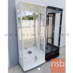 G06A070:ตู้โชว์กระจกดาวน์ไลท์ 2 บานเปิด รุ่น DW-804 ขนาด 80W*40D*190H cm. มีไฟในตัว (หลังกระจกเงา)